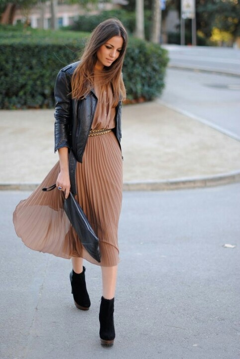 Image result for dress and leather jacket
